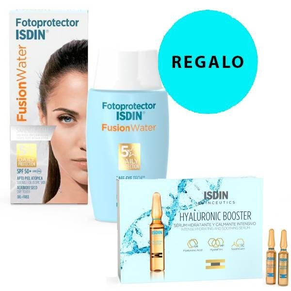 Fotoprotector Isdin 50 Fusion Water 50 ml + 5 Ampollas Hyaluronic Booster