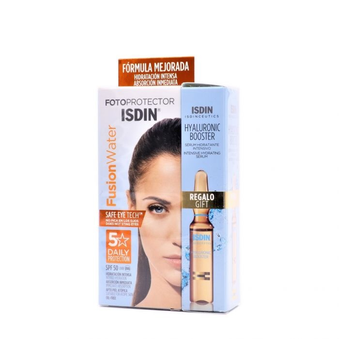 Fotoprotector Isdin 50 Fusion Water 50 ml + Ampolla Hyaluronic Booster