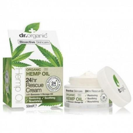 Dr Organic Crema Rescate 24 horas Aceite Cañamo 50 ml