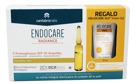 Endocare Radiance C Proteoglicanos Spf30 30 Ampollas + Heliocare Water gel 15 ml